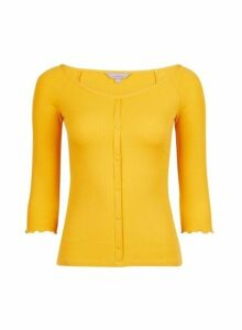 Womens Petite Yellow Button Through Jersey Top- Orange, Orange