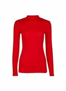 Womens Red Plain Funnel Neck Cotton Top- Red, Red