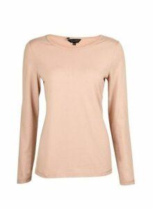 Womens Blush Long Sleeve Crew Neck Cotton Top- Pink, Pink