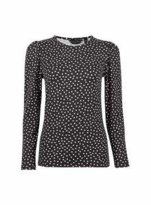 Womens Black Spot Print Puff Sleeve Top- Black, Black