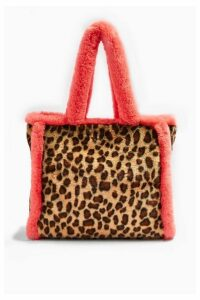 Womens Frankie Faux Fur Leopard Print Tote Bag - Multi, Multi