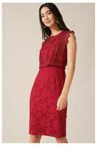 Womens Phase Eight Red Alex Lace Double Layer Dress -  Red