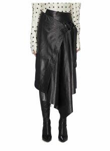 Buckled asymmetric drape leather wrap skirt