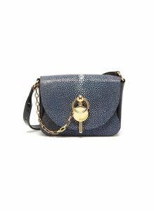 'Nano Keyts' pebbled leather crossbody bag
