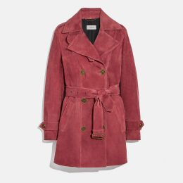 Coach Short Suede Trench Coat