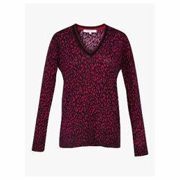 Gerard Darel Syra Animal Print Merino Wool Pullover, Red