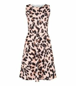 Missfiga Pink Leopard Print Skater Dress New Look