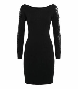 Cameo Rose Black Lace Sleeve Jumper Dress New Look