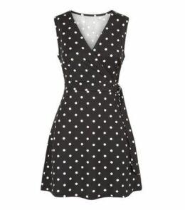 Mela Black Polka Dot Ring Belted Wrap Dress New Look