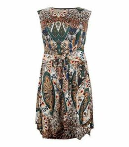 Apricot Curves Green Feather Print Dress New Look