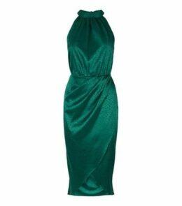 Dark Green Satin Leopard Jacquard Midi Dress New Look