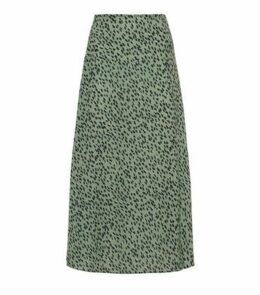 Green Spot Side Split Midi Skirt New Look