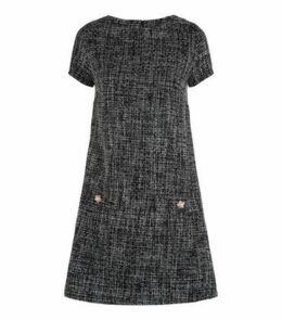 Black Bouclé Faux Pearl Embellished Tunic Dress New Look
