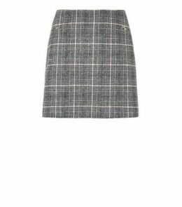 Curves Black Check Brushed Zip Skirt New Look