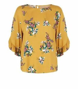Apricot Mustard Floral Ruffle Sleeve Top New Look