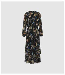 Reiss Sadie - Floral Printed Midi Dress in Black, Womens, Size 18