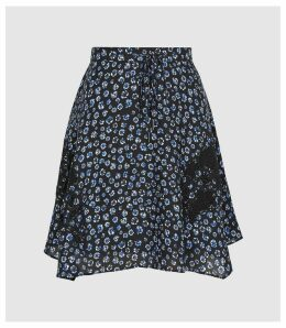 Reiss Marcey - Floral Print Crepe Skirt in BLUE, Womens, Size 14