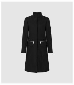 Reiss Macey - Wool Blend Funnel Neck Coat in Black, Womens, Size 14