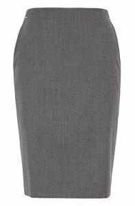Melange pencil skirt in stretch flannel