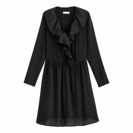 Ruffled Wrapover Midi Dress with Long Sleeves