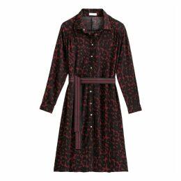 Leopard Print Midi Shirt Dress with Tie-Waist