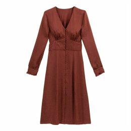 Satin Midi Dress with Long Sleeves