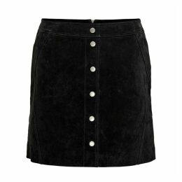 Buttoned Suede Short Skirt