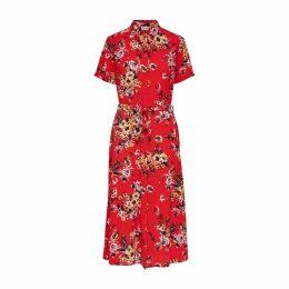 Floral Print Midi Shirt Dress with Tie-Waist