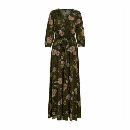 Cotton Wrapover Maxi Dress in Floral Print