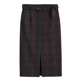 Checked Mid-Length Pencil Skirt
