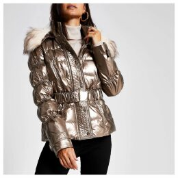 River Island Womens Petite Brown quilted faux fur hood jacket