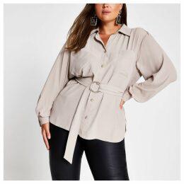 River Island Womens Plus Beige long sleeve belted shirt