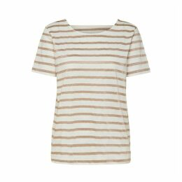 Striped Cotton Mix T-Shirt with Open Back