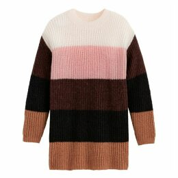 Striped Colour Block Jumper with Round-Neck