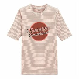 Cotton Slogan Striped T-Shirt with Short Sleeves