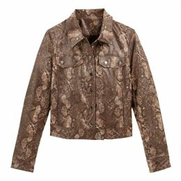 Short Snakeskin Effect Jacket with Pockets