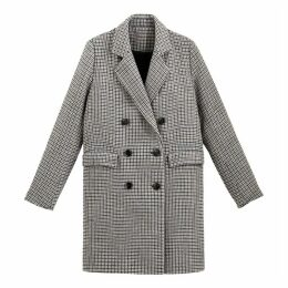 Long Double-Breasted Coat in Check Print