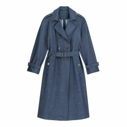 Long Denim Trench Coat with Double-Breasted Fastening and Pockets