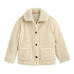 Faux Fur Jacket with Button Fastening and Pockets