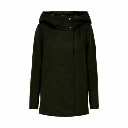 Mid-Length Hooded Coat with High Neck
