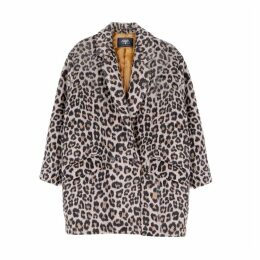 Leopard Print Coat with Double-Breasted Buttons and Pockets