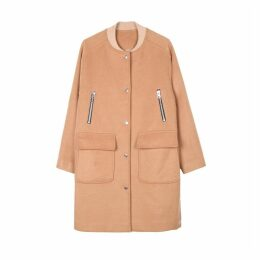 Long Zipped Bomber Coat with Pockets