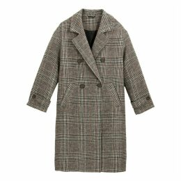 Checked Double-Breasted Coat with Pockets