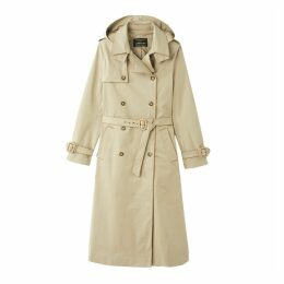 Long Cotton Trench Coat with Detachable Hood and Pockets