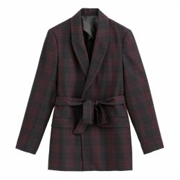 Checked Single-Breasted Blazer with Tie-Waist