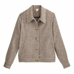 Buttoned Jacket with Houndstooth Check Print