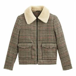 Checked Aviator Jacket with Faux Fur Collar