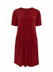 Red V-Neck Pocket Dress, Burgundy