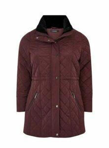 Plum Faux Fur Collar Padded Coat, Plum