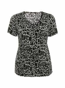 Black Animal Print V Neck Top, Black